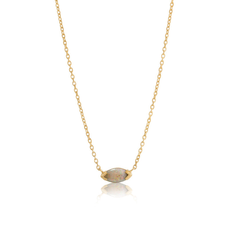 Opal Marquise Necklace, Gold
