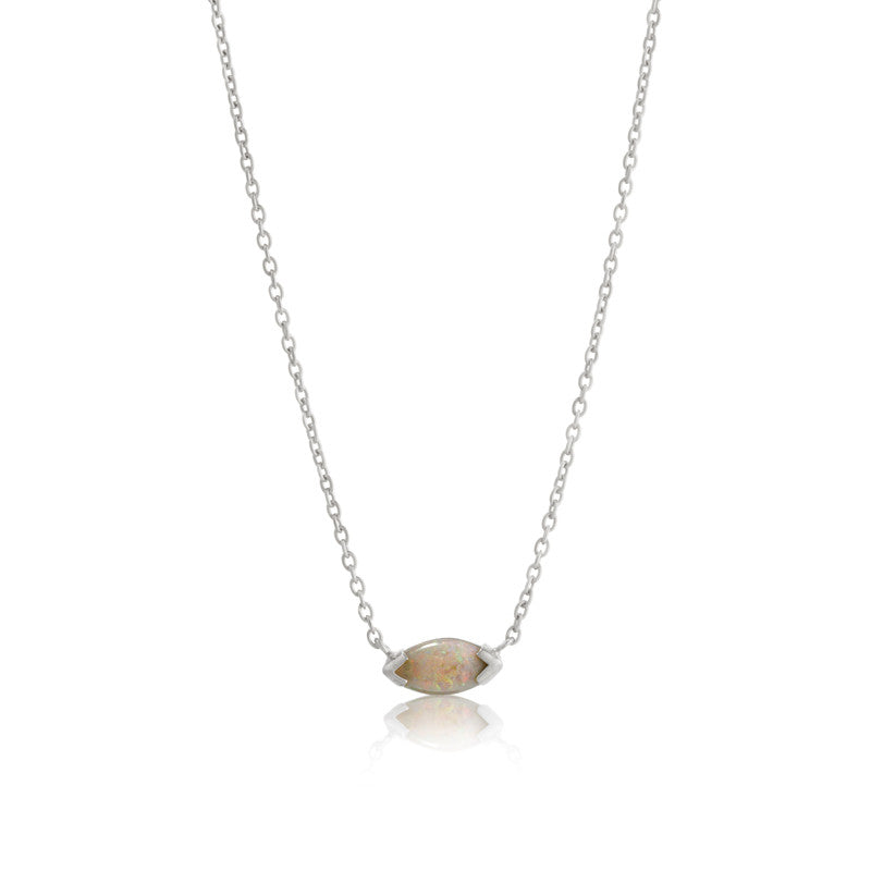 Opal Marquise Necklace, Silver