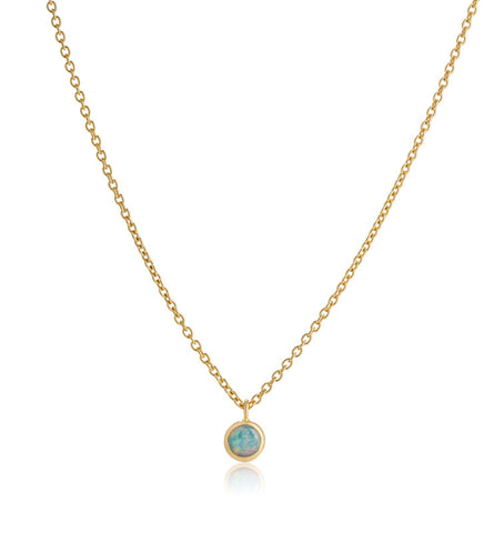 Opal Solitaire Necklace, Gold