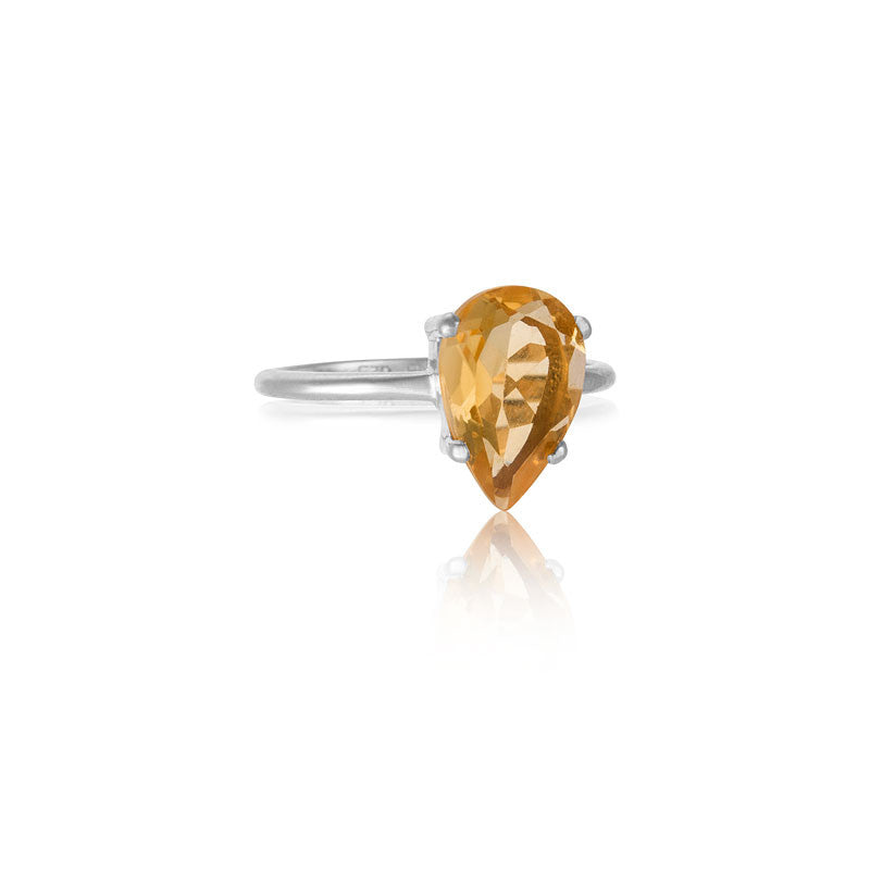 Pear Ring, Citrine, Silver