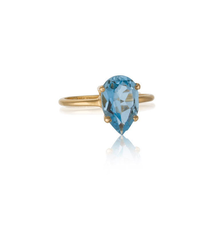 Pear Ring, Blue Topaz, 9kt Yellow Gold