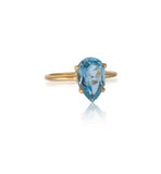 Pear Ring, Blue Topaz, Gold