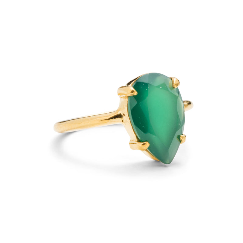Pear Ring, Green Onyx, Gold