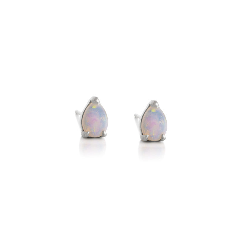 Tear Drop Stud, Opal, Silver