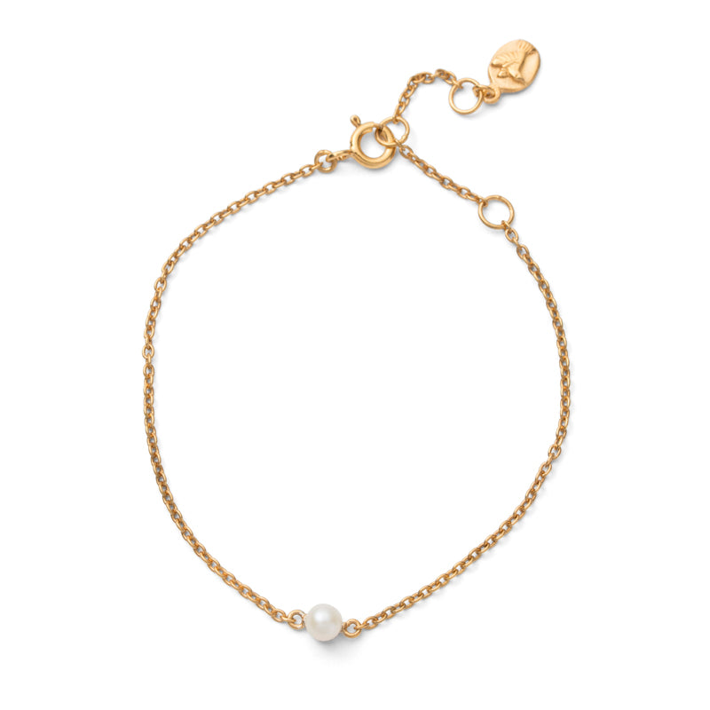 Pearl On Chain Bracelet, Gold