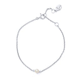 Pearl On Chain Bracelet, Silver