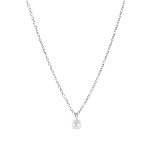 Pearl on Chain Necklace, Silver