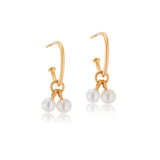 Pearl Duo Hoops, Gold