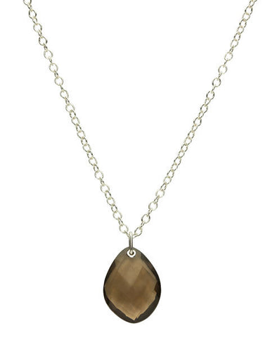 Pebble-Pendant,-Smokey-Quartz,Sterling-18k-Gold-Plate,chain-length-40cm,-45cm-or