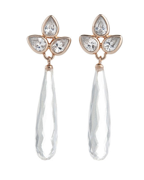 Petal-Earring,C.Z,Rock-Crystal-Briolette,Sterling-Silver,Rose-Gold-Plate