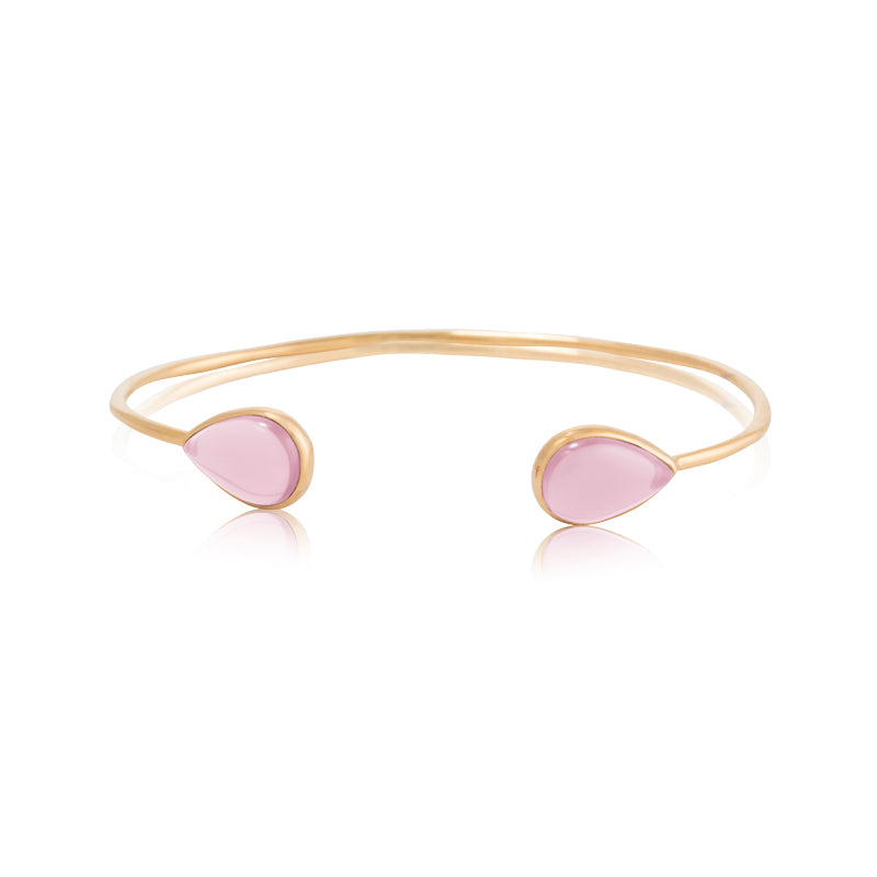 Petal Cuff, Rose Quartz, Gold
