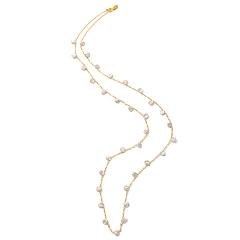 Petal Pearl Necklace, Keshi Pearls, Gold