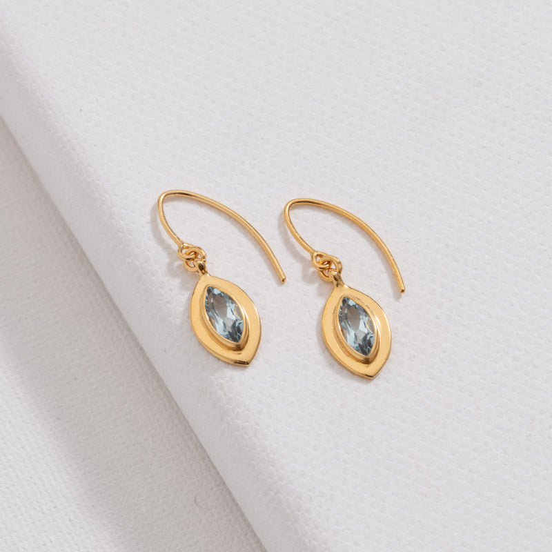 Marquise Earring, Blue Topaz, Gold