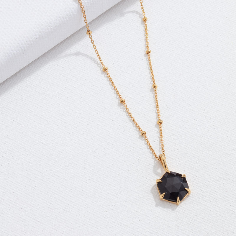 Hexagonal Pendant, Black Spinel, Gold