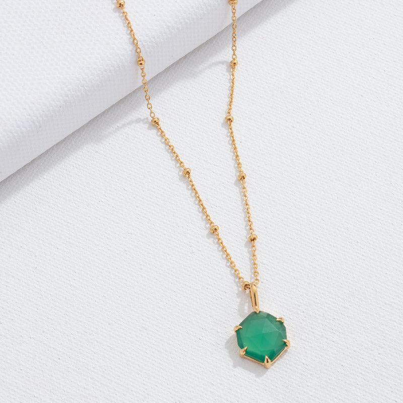 Hexagonal Pendant, Green Onyx, Gold