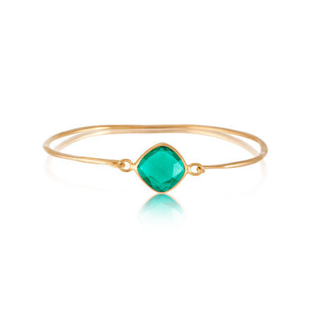Pulki Bangle, Green Onyx, Gold