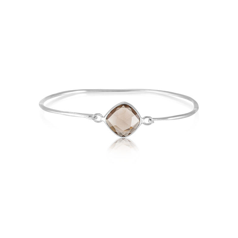 Pulki Bangle, Smokey Quartz, Silver