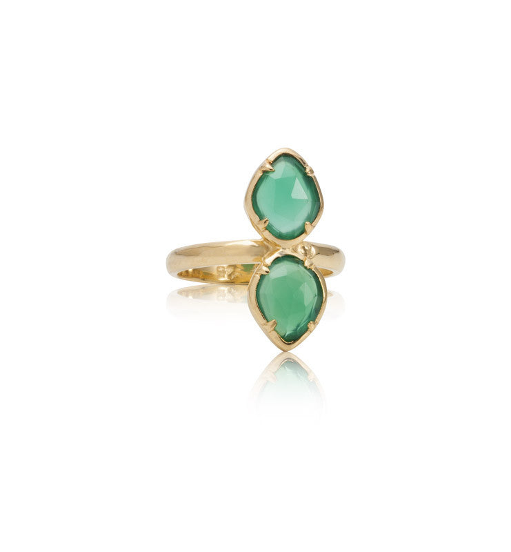 Pulki Claw Ring, Green Onyx, Gold