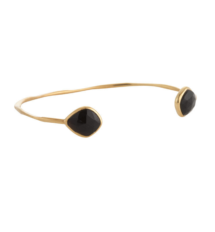 Rose, Faceted, Pulki, Cuff, Black, Onyx, Gold, Kerry, Rocks, Jewellery