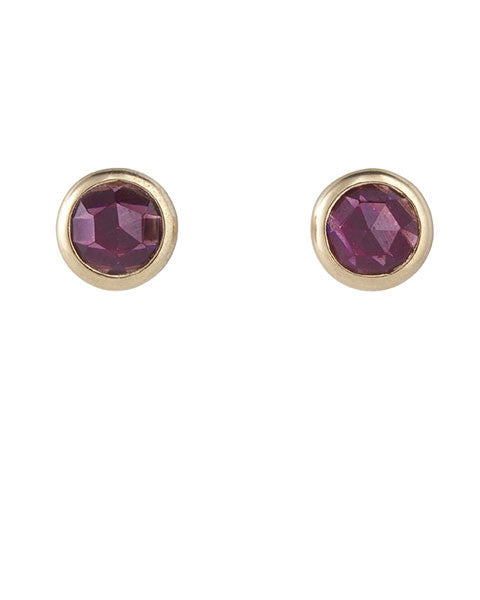 Rose-Cut-Stud-Garnet,Sterling-silver,18k-Gold-Plate