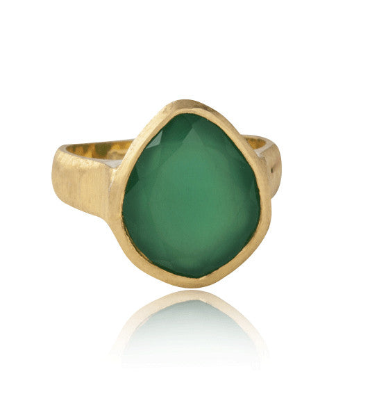 Rose Cut Ring, Green Onyx, Gold