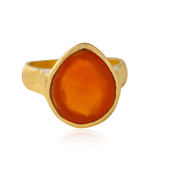 Rose Cut Ring, Red Onyx, Gold
