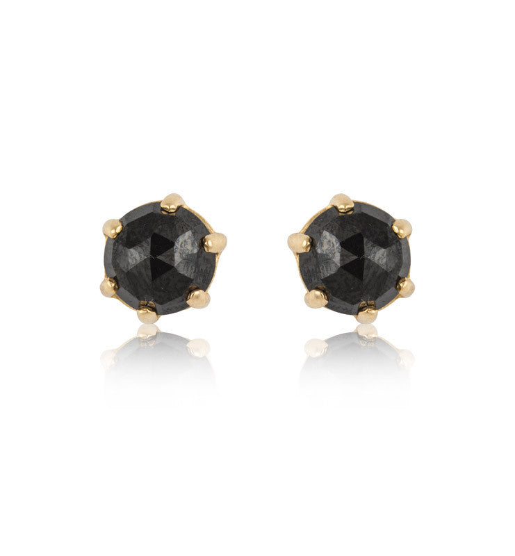 Rose Cut Studs, Black Onyx, Gold