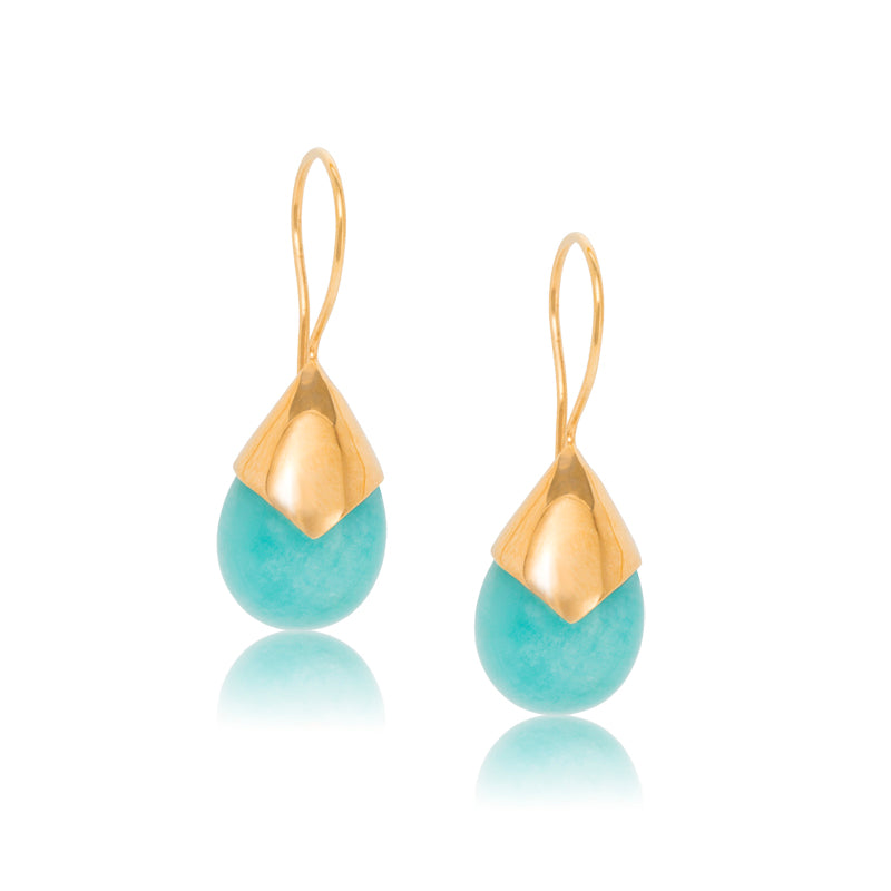 Sephora Earring, Amazonite, Gold