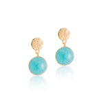 Sequin Stud, Amazonite, Gold