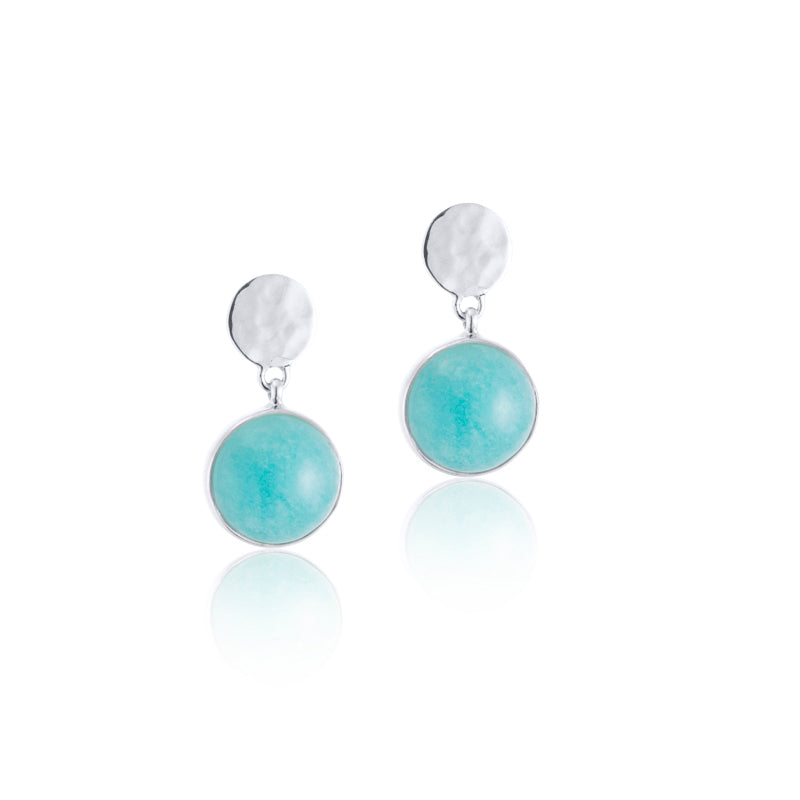 Sequin Stud, Amazonite, Silver