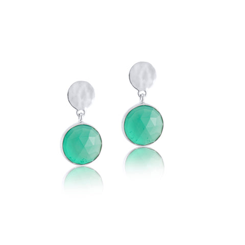 Sequin Stud, Green Onyx, Silver
