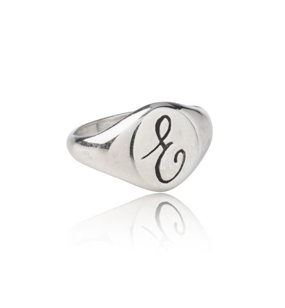 Signet Pinkie Ring, E, Silver