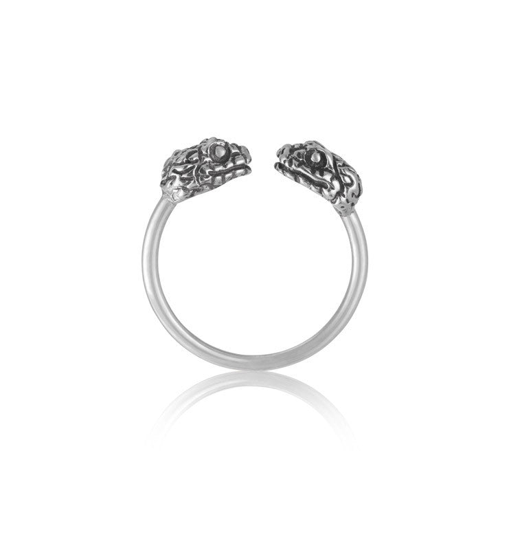 Snake Cuff Ring, Silver