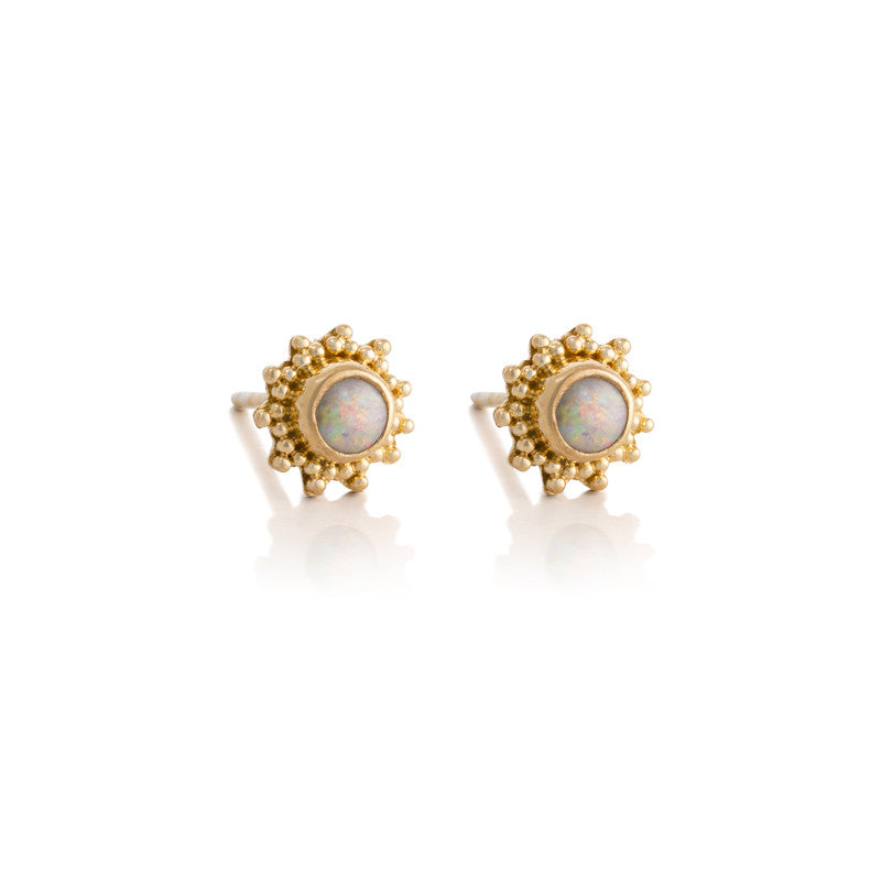 Soleil White Opal Studs, Gold