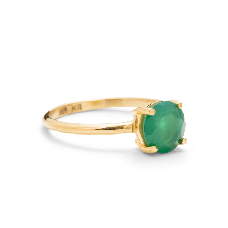 Solitaire Ring, Green Onyx, 9kt Yellow Gold