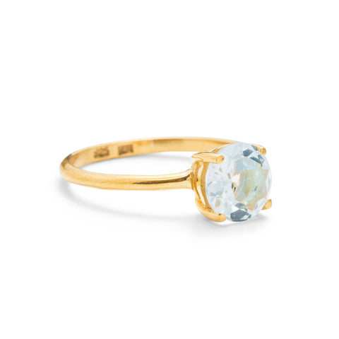 Solitaire Ring, Blue Topaz, 9kt Yellow Gold
