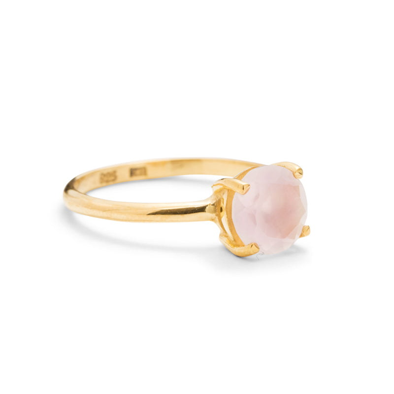 Solitaire Ring, Rose Quartz, 9kt Yellow Gold