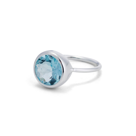 Gem Stack Ring, Blue Topaz, Silver