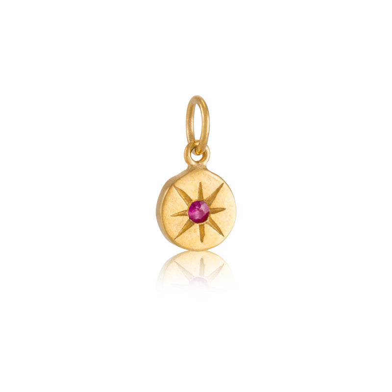 Starburst Charm, Ruby, Gold