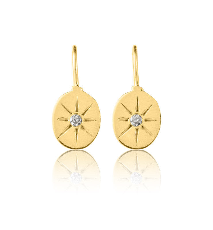 Starburst, Earring, Gold Plate, CZ, Cubic Zirconia