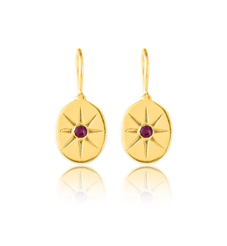 Starburst Earring, Ruby, Gold