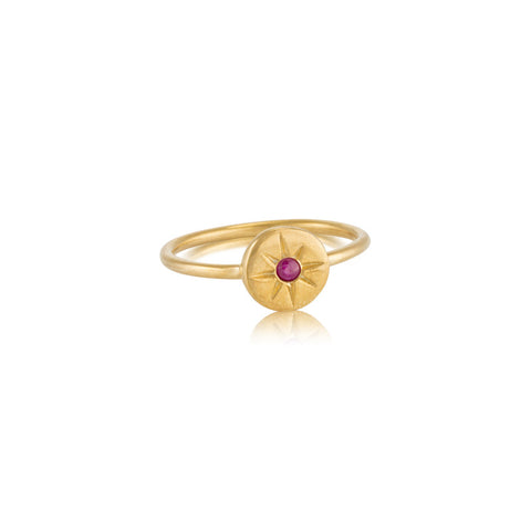 Starburst Stack Ring, Ruby, Gold