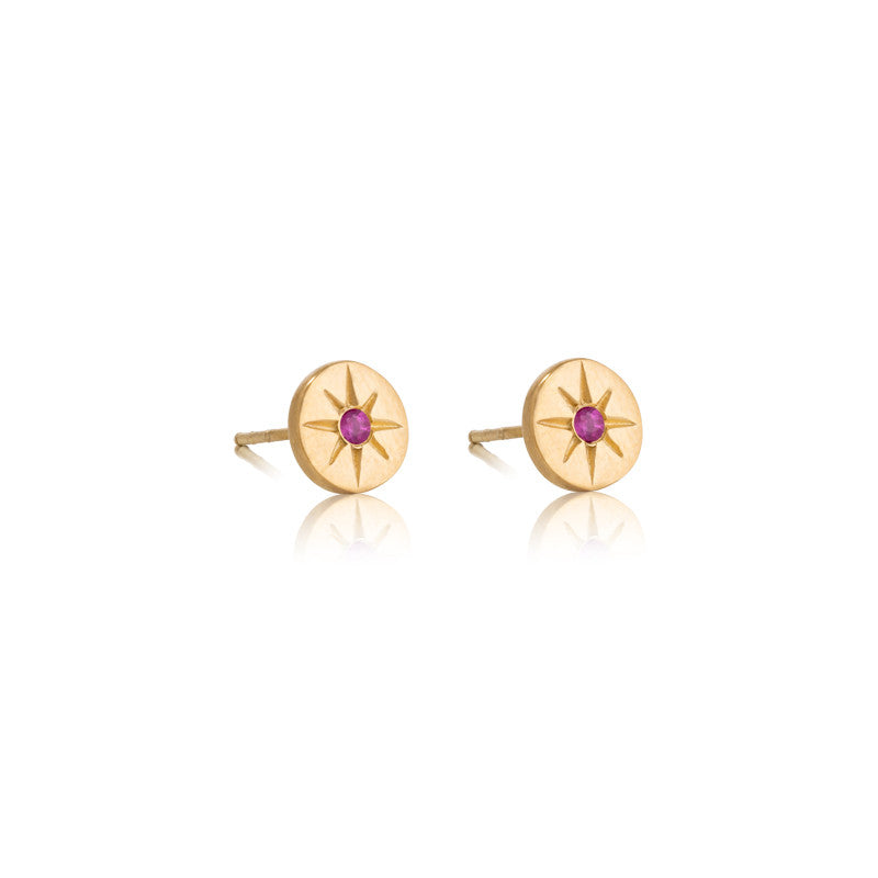 Starburst Stud, Ruby, Gold