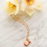 Charm Necklace, Pink Opal, Ruby, Gold