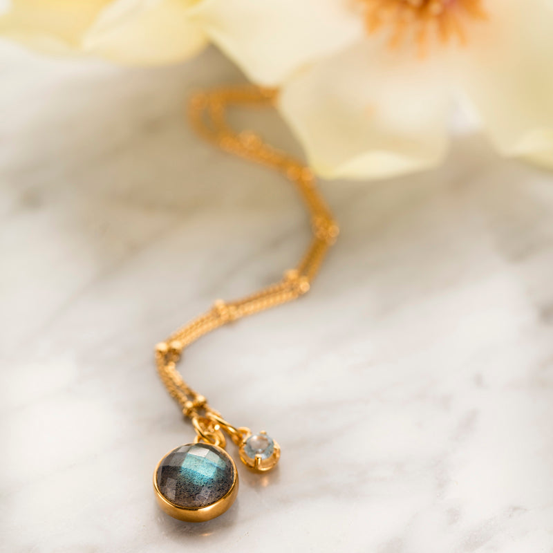 Charm Necklace, Labradorite, Blue Topaz, Gold