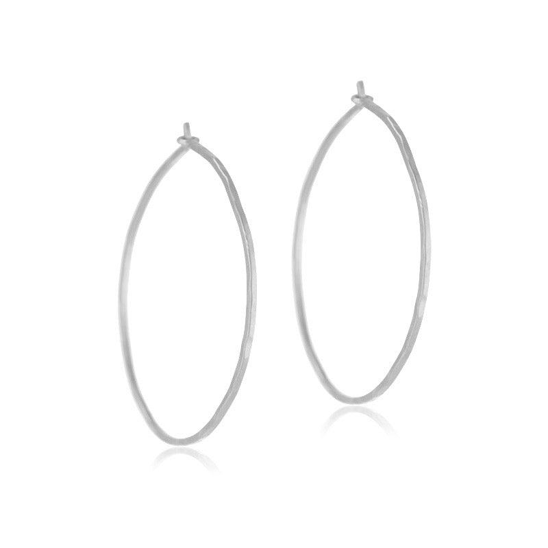 Fine Forged Hoops, Large, Silver