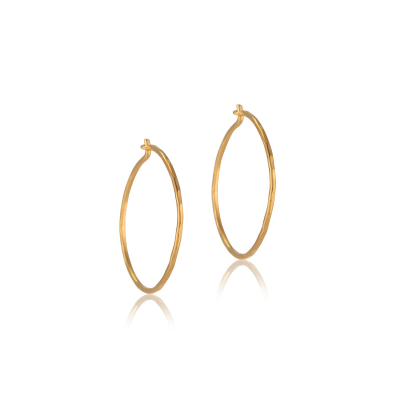 Fine Forged Hoops, Small, 9kt Gold