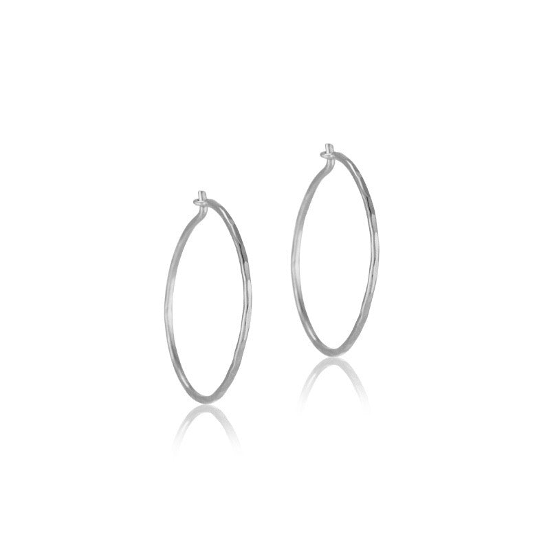 Fine Forged Hoops,Small, Silver