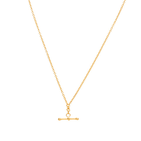 T Bar Necklace, Gold