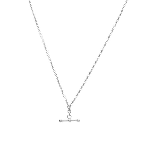 T Bar Necklace, Silver